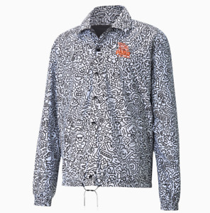 PUMA X & MR DOODLE Collab Reversible Streetstyle Jacket Mens Medium  White-AOP