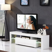 White High Gloss TV Stand Unit Cabinet Console Furniture w/LED Shelves 2 Drawers