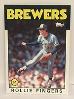 1986 Topps Rollie Fingers baseball card Milwaukee Brewers NrMt-Mint  #185 HOF P