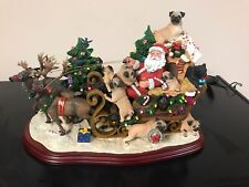 Danbury Mint Pug / Pugs Christmas Sleigh   Lights up!   Rare!   Retired!