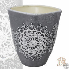 Übertopf Keramik, quadratisch 14 cm - Pflanzgefäß Blumentopf Topf Orchideentopf