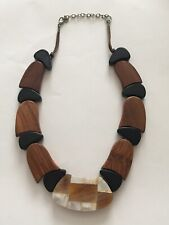 Chunky Wooden Statement Necklace With Mother Of Pearl