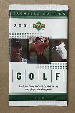 New listing Sealed 2001 Premiere Edition Upper Deck Golf Pack Tiger Woods RC PGA [Unopened]