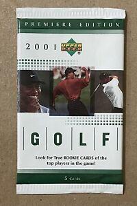 Sealed 2001 Premiere Edition Upper Deck Golf Pack Tiger Woods RC PGA [Unopened]
