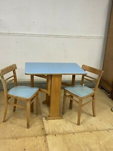 Vintage Mid Century Melamine Top Space saver Dining Table & 2 Chairs