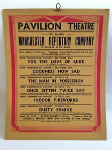 Vintage WWII Rhyl Pavilion Theater Poster - Manchester Rep Company