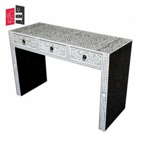 Pandora Bone Inlay Grey Floral Console Table (MADE TO ORDER)