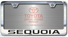 NEW Toyota Sequoia Chrome License Plate Frame Engraved Block Letters (Set of 2)