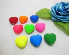 98 Heart Charms Acrylic Rubber Beads for Jewelry Making