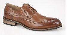 Route21 Men's Classic Gibson Formal London Brogues Lace up Shoes Mens UK 13 / EU 47 Tan Burnished PU