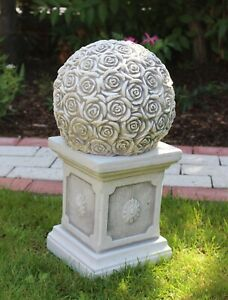 Beton Figur Kugel mit Rosenmotiv auf klassischer Säule H 46 cm Dekoelement