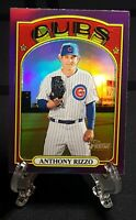 Anthony Rizzo 2021 Topps Heritage Card Chrome Purple Refractors Chicago Cubs