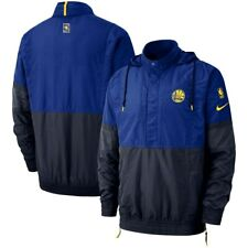 NIKE Golden State Warriors Hooded NBA Pullover Jacket sz L Large Blue Basketball