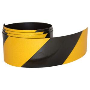 FLURO Magnetic Reflective Tape 1M x 75mm x 0.8mm Hi-Vis Black and Yellow Stripe