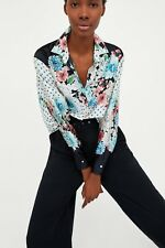 ZARA Floral And Polka Dot Blouse Top S