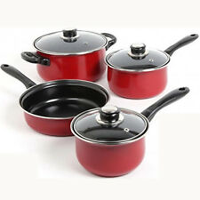 Cooking Pots and Pans Kitchen Carbon Steel Cookware Set 7 Piece PC Non Stick Red