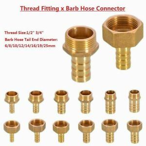 BSP Brass Male/Female Thread Fitting x Barb Hose Tail End Connector for Air Fuel