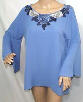 Chenault Women Size L Mesh Embellished Floral Blue Tunic Top Blouse Shirt