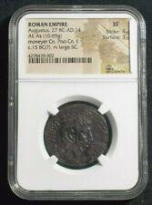 Roman AE As of Emperor Augustus, 15 BC Moneyer Pisco NGC XF 9002