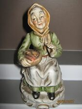 Ceramic figurine no4 old woman sitting with food bowl 140 to 180 mm ex/cond