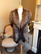 Real Silver Fox Fur stole shawl shrug wrap cape collar vintage