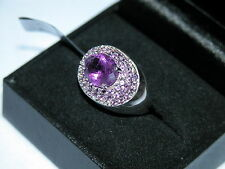 LOT 242 STUNNING MULTI STONE AMETHYST STERLING SILVER RING SIZE N 1/2 -RRP £236