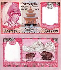 Nepal 5 rupees Banknote World Paper Money UNC Currency Pick p46 Sign 15 Yaks
