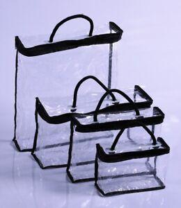 1-4 Pcs Clear Makeup Bag Set Travel Cosmetic Transparent PVC Toiletry Bags Pouch
