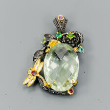 Vintage35ct+ Natural Green Amethyst 925 Sterling Silver Pendant /NP08838