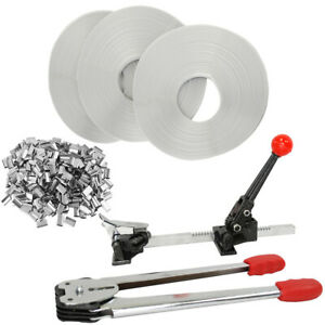 STRAPPING TOOL Complete Kit+Metal Seals + 4 Poly Strap Banding Rolls Supply Set
