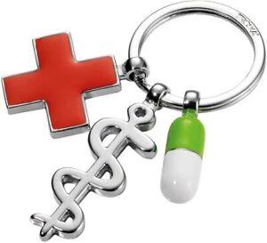 Troika Schlüsselanhänger Schlüsselhalter Äskulapstab, rotes Kreuz  Get Well   22