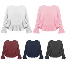 NEW Women Shirt Long PLEATED Sleeves & Hem Loose A Line Scoop Neck BLOUSE UK