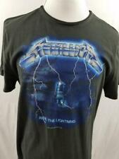 NWT Metallica Ride the Lightning 2016 Mens L Amplified Gray Distressed T Shirt