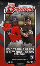 2015 Bowman Baseball Factory Sealed HTA Hobby Jumbo Pack Box (3 Autos per Box)