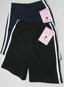 Boys Girls Gym School Sports Shorts Stripes hot pants PE Cotton Black Navy