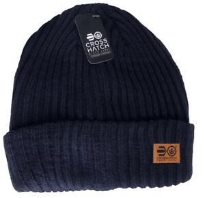 CROSSHATCH Black Label Mens Ribbed Turn Up Cuff Navy Blue Beanie Hat > One Size