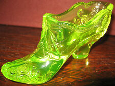 Vaseline glass Bow pattern Shoe Slipper Boot christmas uranium yellow canary art