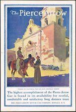 1912 Vintage Pierce Arrow Car San Juan Capistrano Mission Horse Art Print Ad