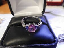 Pink Sapphire, Tanzanite & Diamond 10K Solid White Gold Cocktail Ring