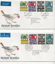 "Great Britain 1982 - ""Textiles"" - Fdcs, Blocks Of 4, 4 Singles"