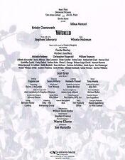Original Wicked Broadway Program Insert ONLY Full Credits Idina Menzel Chenoweth