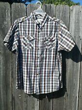 Men's Refuel New York Brown & Black & white Plaid Short Sleeve Button Up Shirt