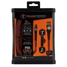 BRAND NEW Tough Tested TT-PC8-MICRO 8' PRO Armor Weave Cable Slim Tip Micro USB