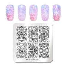 Nicole diario para Uñas Stamping Placa Square para Arte de Uñas herramientas de sello de acero inoxidable 093