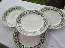 set of 4 Gibson Designs  Holly & Berries  Dinner Plates yellow band