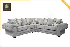 NEW LARGE VERONA Corner Sofa Suite Fabric 3+2 Seater Armchair- Light Grey Silver