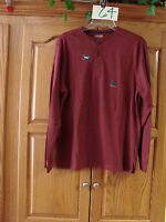 NEW MENS ST JOHNS BAY  BURGUNDY SUEDED HENLEY LONG SLEEVE SHIRT SIZE SMALL