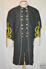Confederate Officer Frock w/White Collar & Cuffs - Double Breasted -34-50