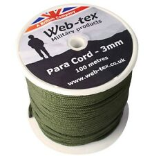 100 m PARACORD ON REEL olive rope long military para cord camping survival kit