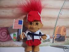 "CAMP BOY HOLDING AMERICAN FLAG - 5"" Russ Troll Doll - NEW IN ORIGINAL WRAPPER"